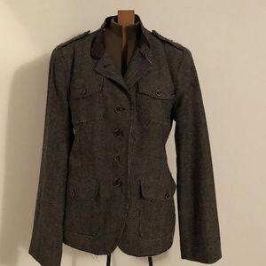 Banana Republic grey wool tweed frayed Jacket